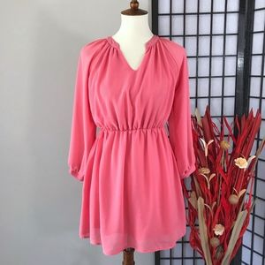 TOBI Salmon Long Sleeve Split Neck Chiffon Dress